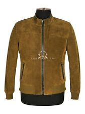 Men's Suede Leather Jacket Khaki Green Classic Stand UP Collar Racer jacket