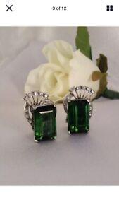 Magnificent Estate Find! Ostby Barton Platinum, Tourmaline, Diamond Earrings