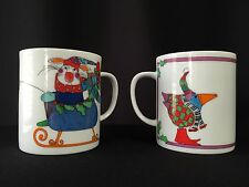 Pair of MERRY MAKERS Department 56 Christmas Coffee Mugs