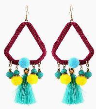 Large Triangle Bohemian Pom Pom & Tassel Dangle Earrings with Green Beads #604