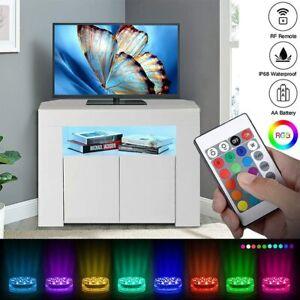 TV Board Lowboard Eck Eckschrank Fernsehschrank Weiß Hochglanz mit 3 Lagerplätze