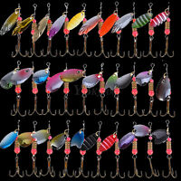 30pcs Trout Spoon Metal Fishing Lures Hook Baits Crankbaits Bass Tackle with Box