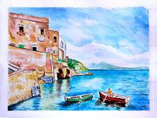 Acquerello fenestella marechiaro Napoli vesuvio mare marina dipinto a mano
