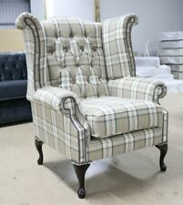 GEORGIAN CHESTERFIELD QUEEN ANNE HIGH BACK WING CHAIR PIAZZA BEIGE FABRIC