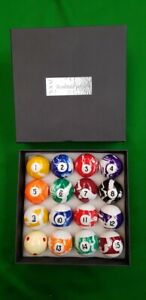 """2"""" 51mm MARBLE PARTNERS MARBELISED POOL BALLS 1 7/8"""" Cue ball 47.5mm, MARBELIZED"""
