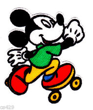 """2"""" Disney mickey mouse skate sports green fabric applique iron on character"""