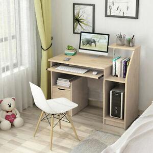 Compact Computer Table Laptop Desk Workstation Storage Bookshelf Keyboard Tray