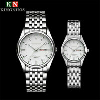 KINGNUOS Fashion Men Women Stainless Steel Band Quartz Analog Sport Wrist Watch