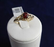 9CT SOLID YELLOW GOLD RING-Filigree solitaire 5.0mm red Garnet 1.5g