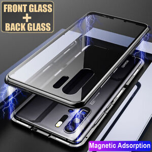 For Hauwei P30 Pro/P30 Lite Magnetic Case 360° Front Rear Tempered Glass Cover