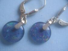 Opal Ohrhänger lang Gold 333, Ohrhänger hochwertig farbige Opal Tripletten 10 mm