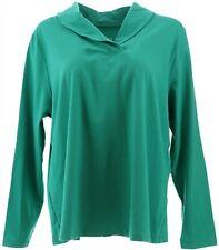 Denim & Co Essentials Jersey Shawl Collar Top Fall Jade XL NEW A346275