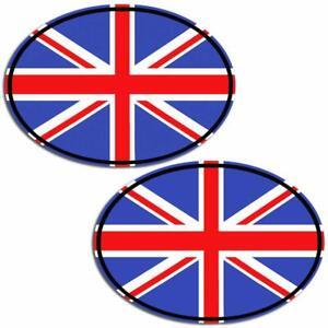 2 Vinyl Sticker Decal UK Flag Union Jack Oval Car Van Badge Travel Abroad B 198