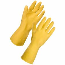 """5 Pairs,12"""" Flock Lined Latex  Rubber Gloves Yellow X-LARGE, Diamond Grip"""