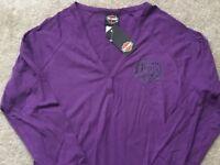 Harley Davidson V Neck Henley Long Sleeve Purple Shirt NWT Women's XXL