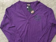 Harley Davidson V Neck Henley Long Sleeve Purple Shirt NWT Women's XL