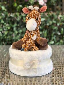 Mummy and Baby Giraffe Neutral One Tier Nappy Cake