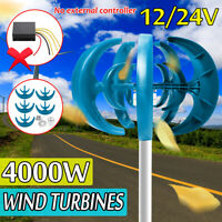 4000W 12V/24V 5 Blades Wind Turbine Generator Vertical Axis Clean Power Energy