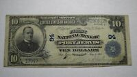 $10 1902 Port Jervis New York NY National Currency Bank Note Bill! Ch #94 VF!