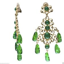 Kenneth Jay Lane Gold Emerald Drops Filagree Clip Chandelier earrings