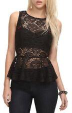 HOT TOPIC Black Skull Goth Cut-out Sheer Crochet Lace Zip Ruffle Peplum Top M
