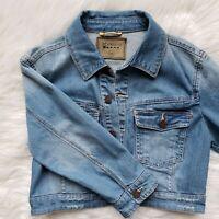 Blank NYC Women's Size M Crop Denim Jean Jacket 3/4 Sleeves Blanknyc