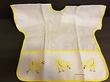 Vintage Childs Bib Apron Smock With Pocket Embroidered Appliqued Baby Chicks FS