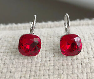 Dangle square 8mm Red Swarovski crystal with bella pierced earrings