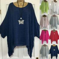 Plus Size Women Long Sleeve Kaftan Baggy Blouse T Shirt Casual Tunic Linen Tops