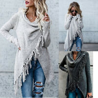 Ladies Irregular Tassel Knitted Cardigan Casual Sweater Jacket Poncho Coat Top