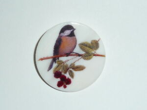 """Pretty Chickadee Bird on Branch Button - Mother of Pearl MOP Shank Button 1+3/8"""""""
