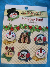 "SNOWMAN~CAT~DOG Lot of 6 FACE BUTTONS 7/8""~dolls~clothing~paper crafts~quilts"