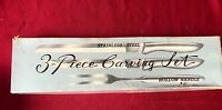 Vintage 3 Piece Turkey Carving Knife Set Stainless Steel Made In Japan with box