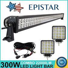 "52"" 300W LED Work Light Bar Spot Flood Offroad SUV+ 2X48W LED LIGTHS+ Wiring Kit"