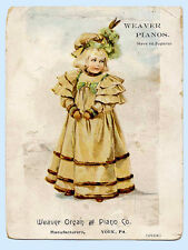 Victorian Trade Card - Pretty Girl Weaver Organ & Piano Company York Pennsylvan