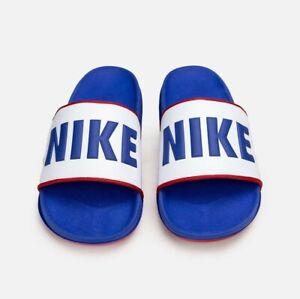Mens Nike OffCourt Slides Blue White Red BQ4639 404 Sandals Off Court
