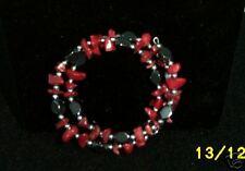 Bracelet, Red Coral & Hemitite     #117