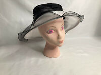 Swan Hat New York Ladies White & Black Mesh & Net w/Rhinestone/Feather Bows