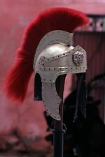 18 Guage Steel Medieval Knight Roman King Helmet With Red Plume