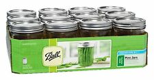 Ball Mason Wide Mouth Pint Jars with Lids and Bands 16 oz Set of 12 - NEW