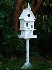 Shabby White Victorian Style Birdhouse Birdfeeder Bird House Feeder On Stand New
