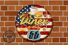 Route 66 restaurante Letrero De Metal, coches, American, gas, Clásico, decoración de garaje, 967