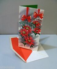 Vtg Card Highlights for Christmas Poinsettia Floral Arrangement Birdcage Unused