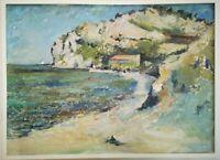 """Olio su masonite Paesaggio di mare, Dino BRIZZI """"Marina"""" 1958, 87x68cm"""