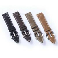 Men's Classic Two-Piece Nubuck Leather Adjustable Wrist Watch Strap Band 18-24mm