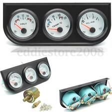 52mm Black Volt Meter Water Temp Oil Pressure Electrical Triple Gauge Kit Car