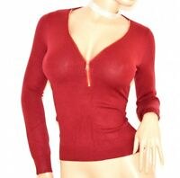 MAGLIETTA donna ROSSA maglia manica lunga sottogiacca  sexy zip oro F95