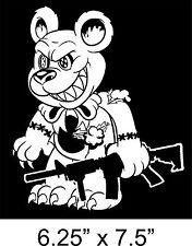"ZOMBIE Sticker EVIL TEDDY BEAR ar-15 VOODOO TACTICAL gun 6.25x6.75"" Vinyl Decal"