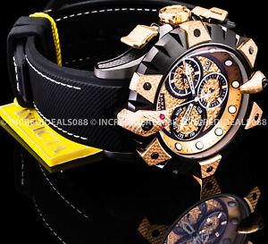 Invicta Men RESERVE VIPER VENOM Swiss Chronograph Rose Gold Black Strap SS Watch