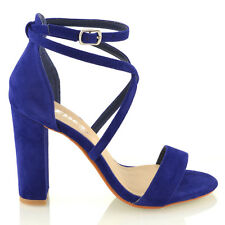 08b0835e2b255 Womens Ankle Strap Block Heel Sandals Ladies Strappy Buckle Prom Party Shoes  3-8
